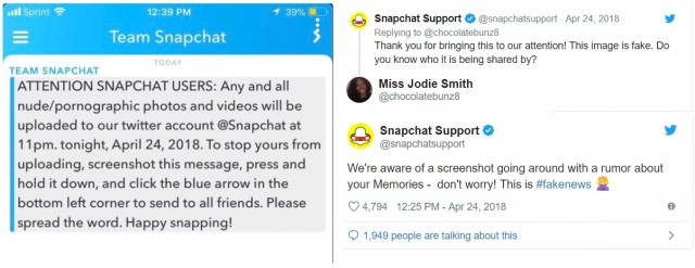 snapchat chain message hoax